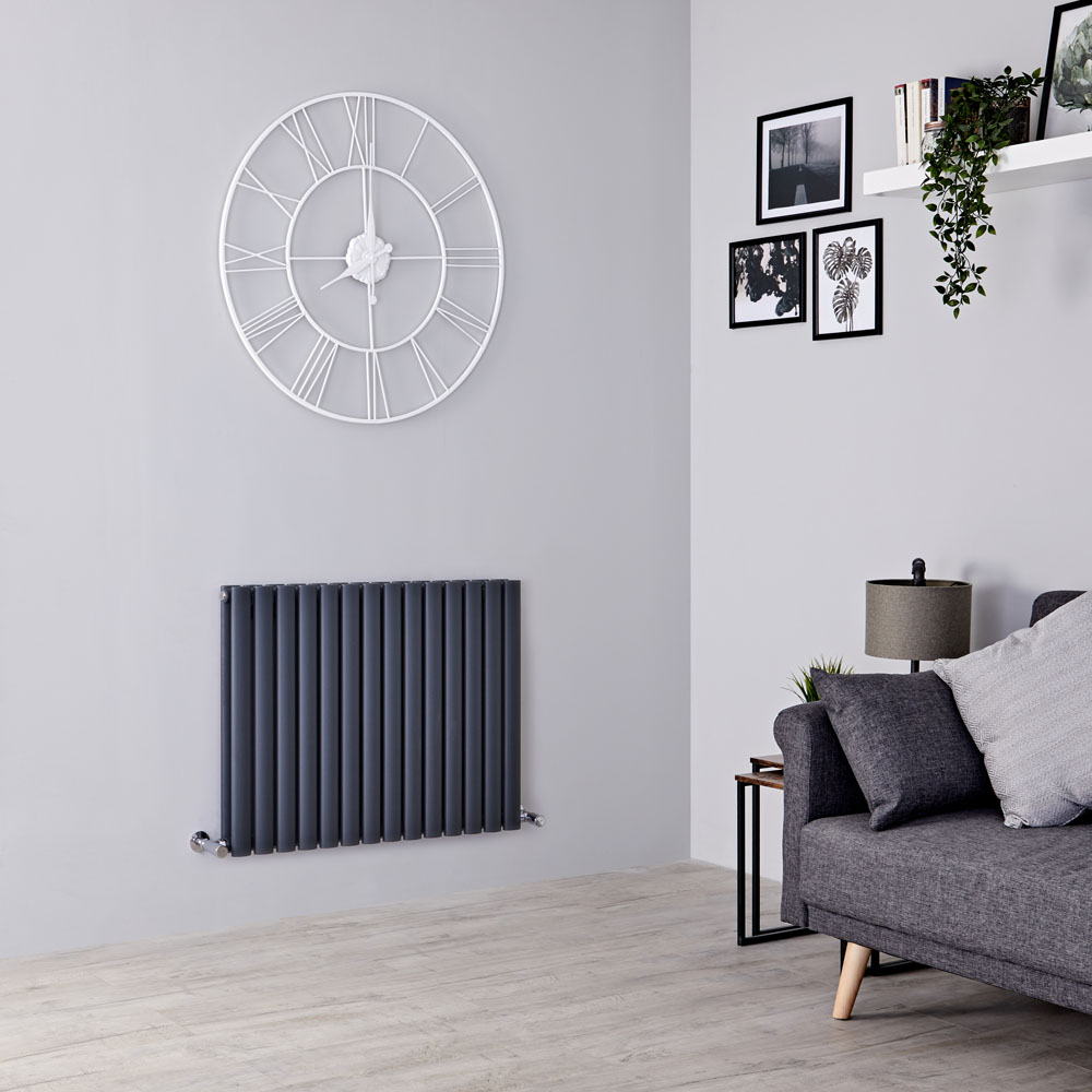 Milano Aruba - Anthracite Horizontal Designer Double Radiator 635mm x 834mm