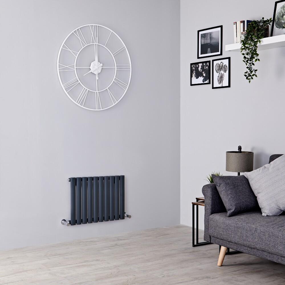 Milano Aruba - Anthracite Horizontal Designer Radiator 400mm x 595mm (Single  Panel)