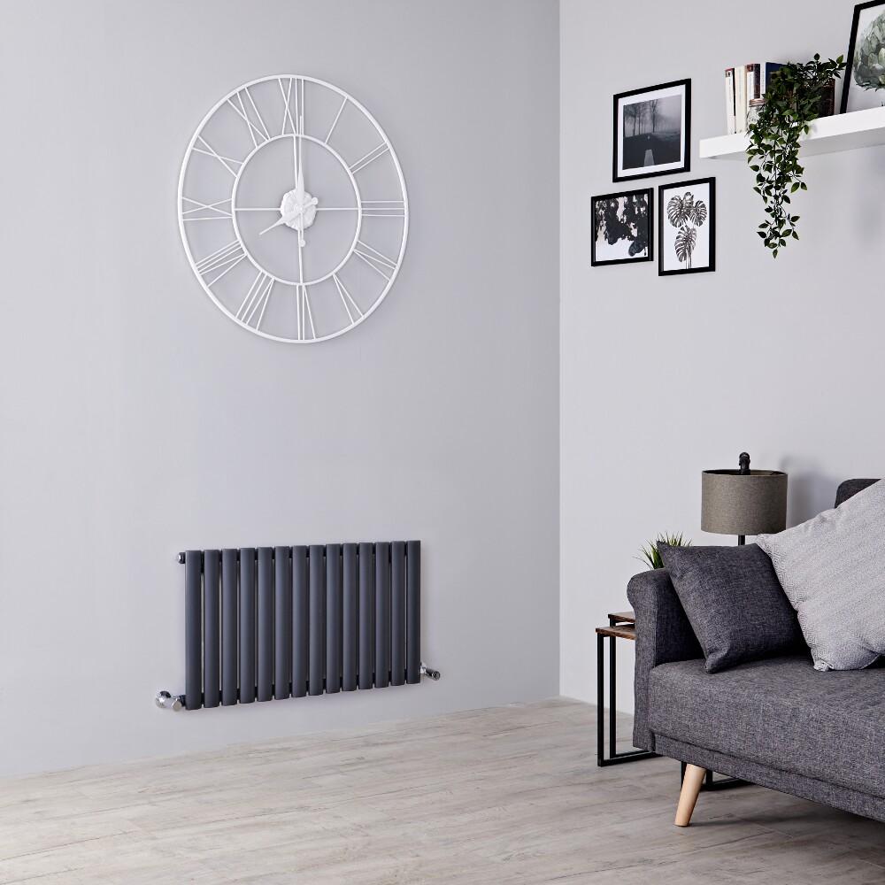 Milano Aruba - Anthracite Horizontal Designer Radiator 400mm x 834mm (Single  Panel)