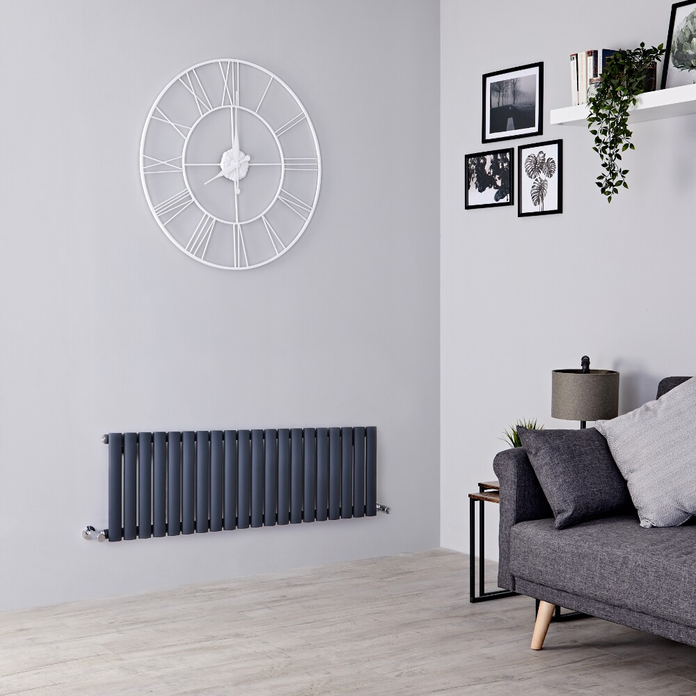 Milano Aruba - Anthracite Horizontal Designer Radiator 400mm x 1180mm (Single  Panel)