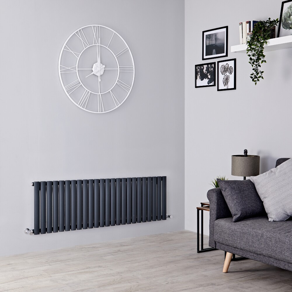 Milano Aruba - Anthracite Horizontal Designer Radiator 400mm x 1411mm (Single  Panel)