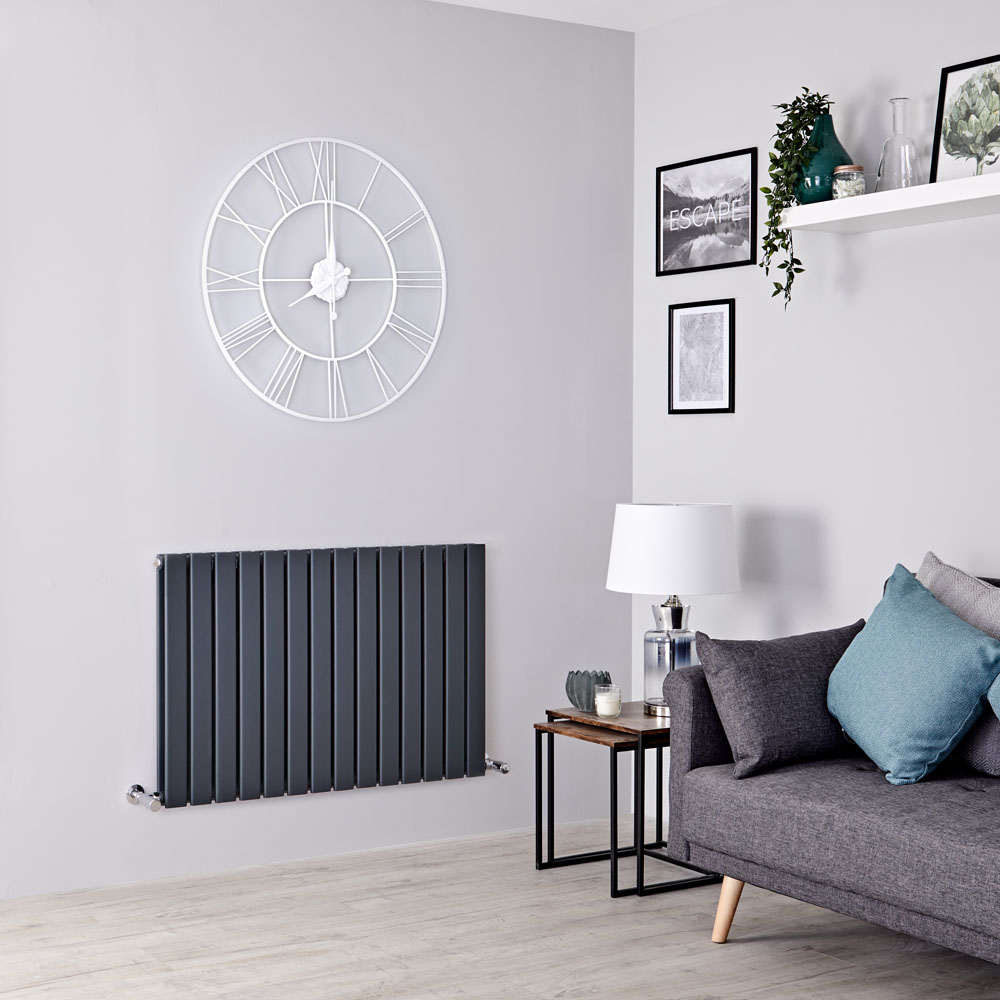 Milano Alpha - Anthracite Horizontal Double Slim Panel Designer Radiator 635mm x 980mm