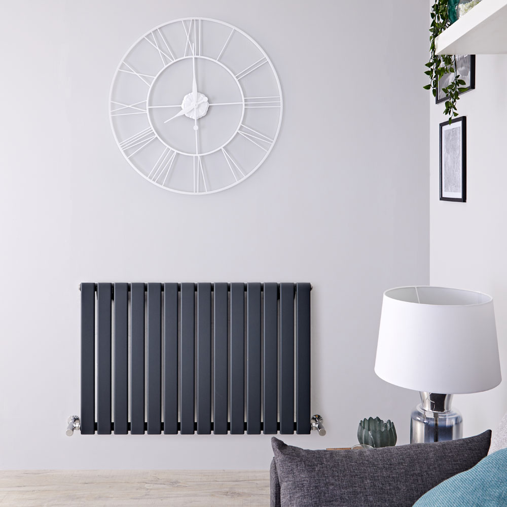 Milano Alpha - Anthracite Horizontal Single Slim Panel Designer Radiator 635mm x 980mm