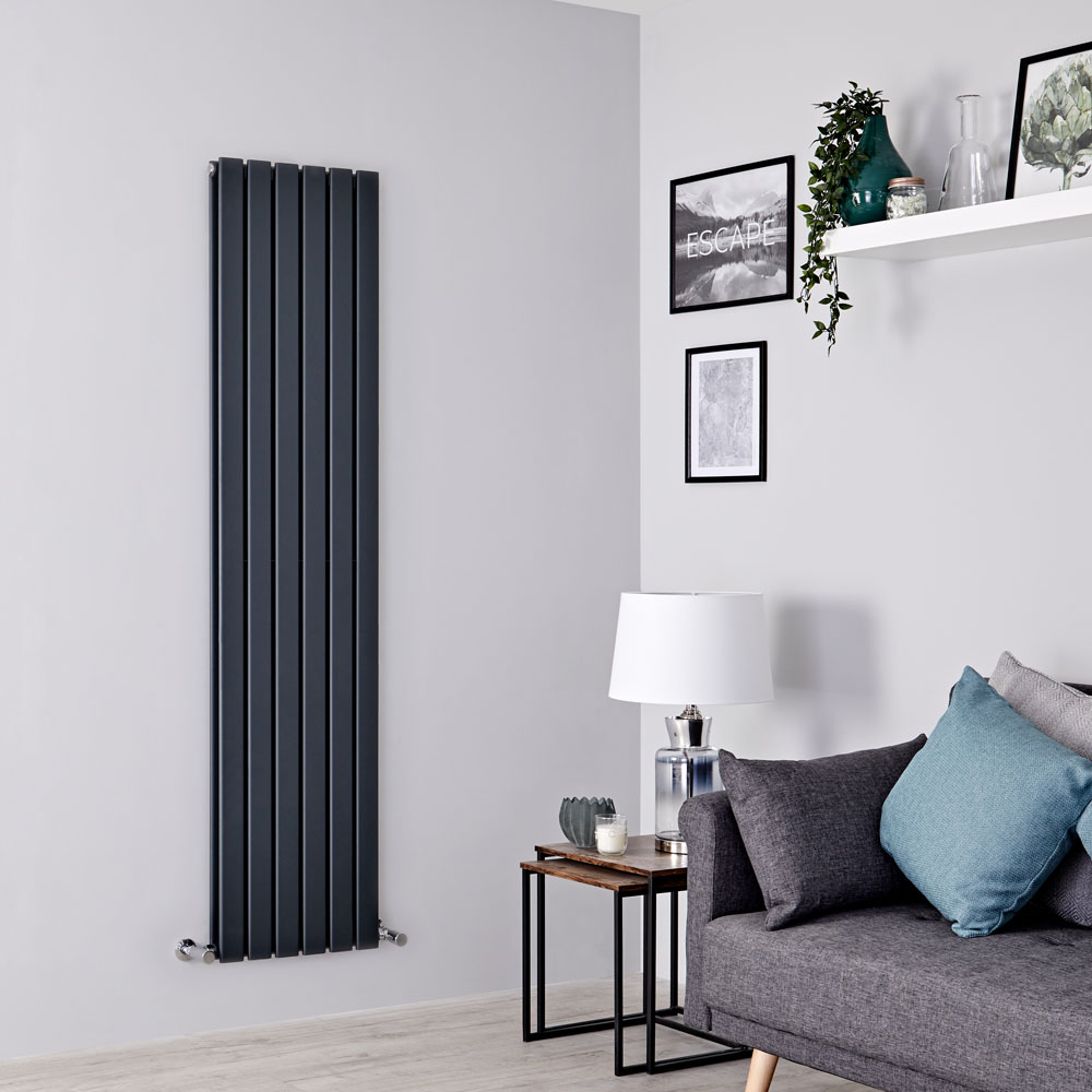 Milano Alpha - Anthracite Vertical Double Slim Panel Designer Radiator 1600mm x 420mm