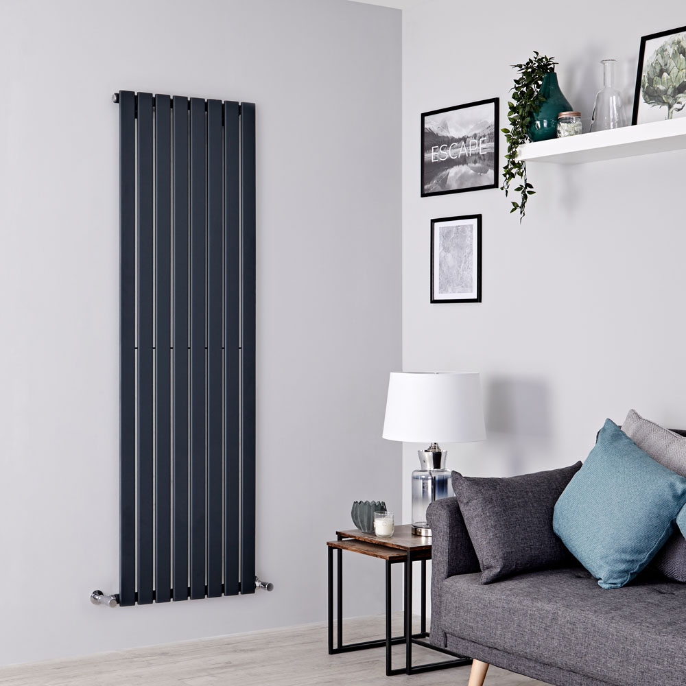 Milano Alpha - Anthracite Vertical Single Slim Panel Designer Radiator 1600mm x 560mm