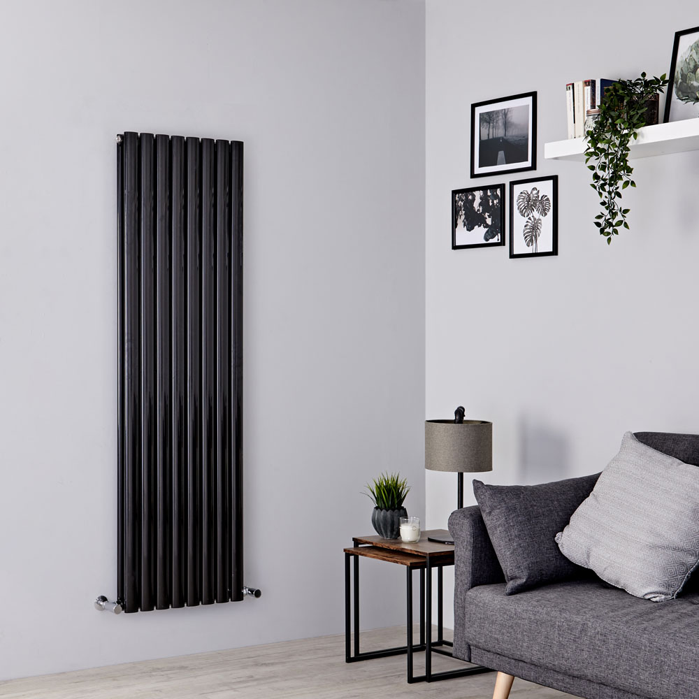 Milano Aruba - Black Vertical Designer Radiator 1600mm x 472mm (Double Panel)