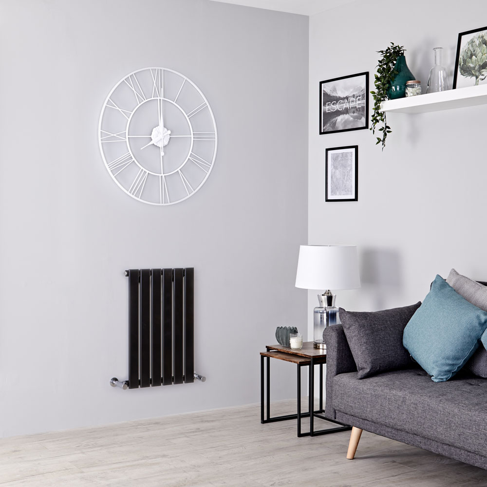 Milano Alpha - Black Horizontal Single Slim Panel Designer Radiator 635mm x 420mm