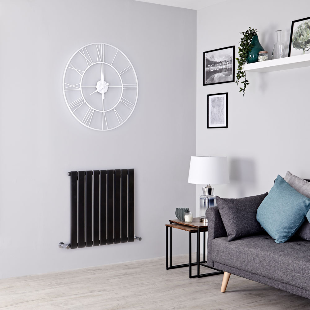 Milano Alpha - Black Horizontal Single Slim Panel Designer Radiator 635mm x 630mm
