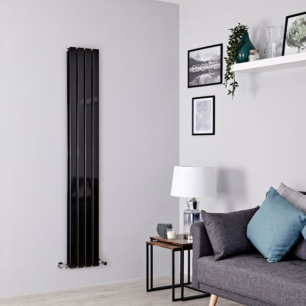 Milano Alpha - Black Vertical Double Designer Radiator 1600mm x 280mm