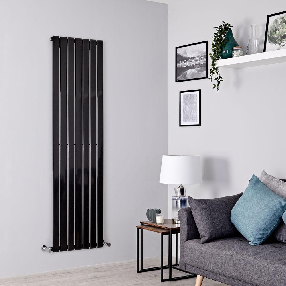 Milano Alpha - Black Vertical Single Designer Radiator 1600mm x 490mm