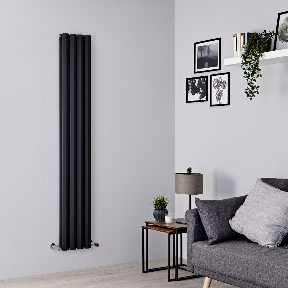 Milano Viti - Black Vertical Diamond Double Panel Designer Radiator 1600mm x 280mm