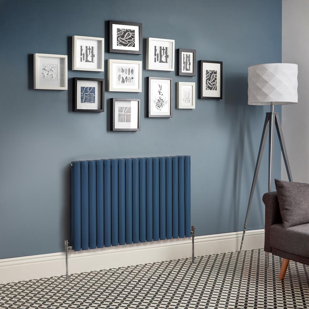 Milano Aruba - Dark Blue Horizontal Double Panel Designer Radiator - Various Sizes