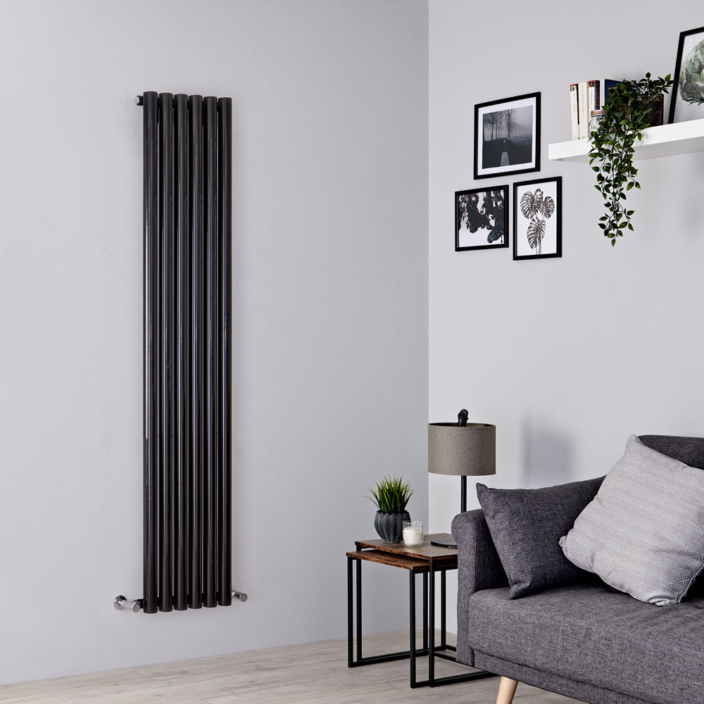 Milano Java - Black Vertical Round Tube Designer Radiator 1600mm x 354mm