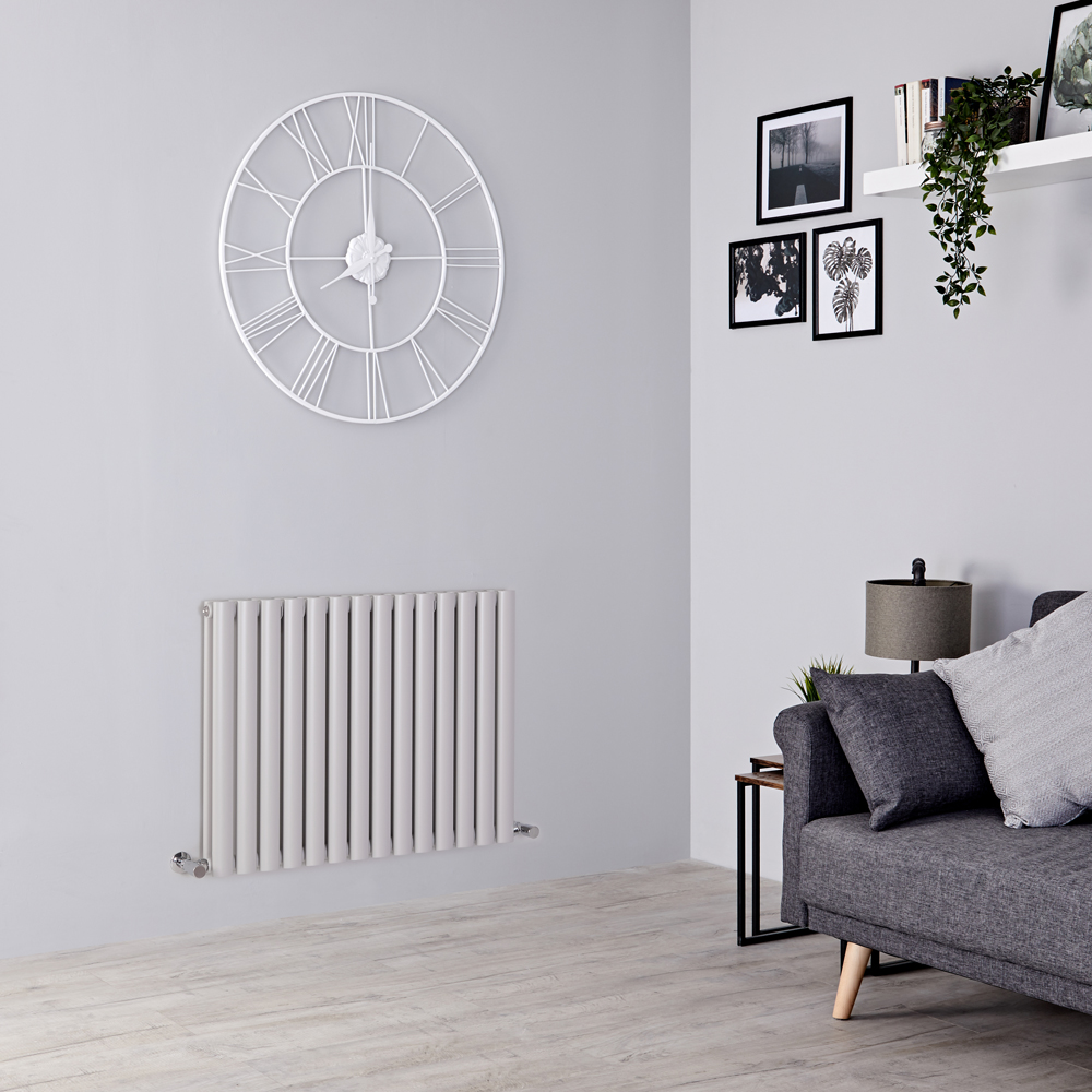 Milano Aruba - Light Grey Horizontal Designer Radiator 635mm x 834mm (Double Panel)