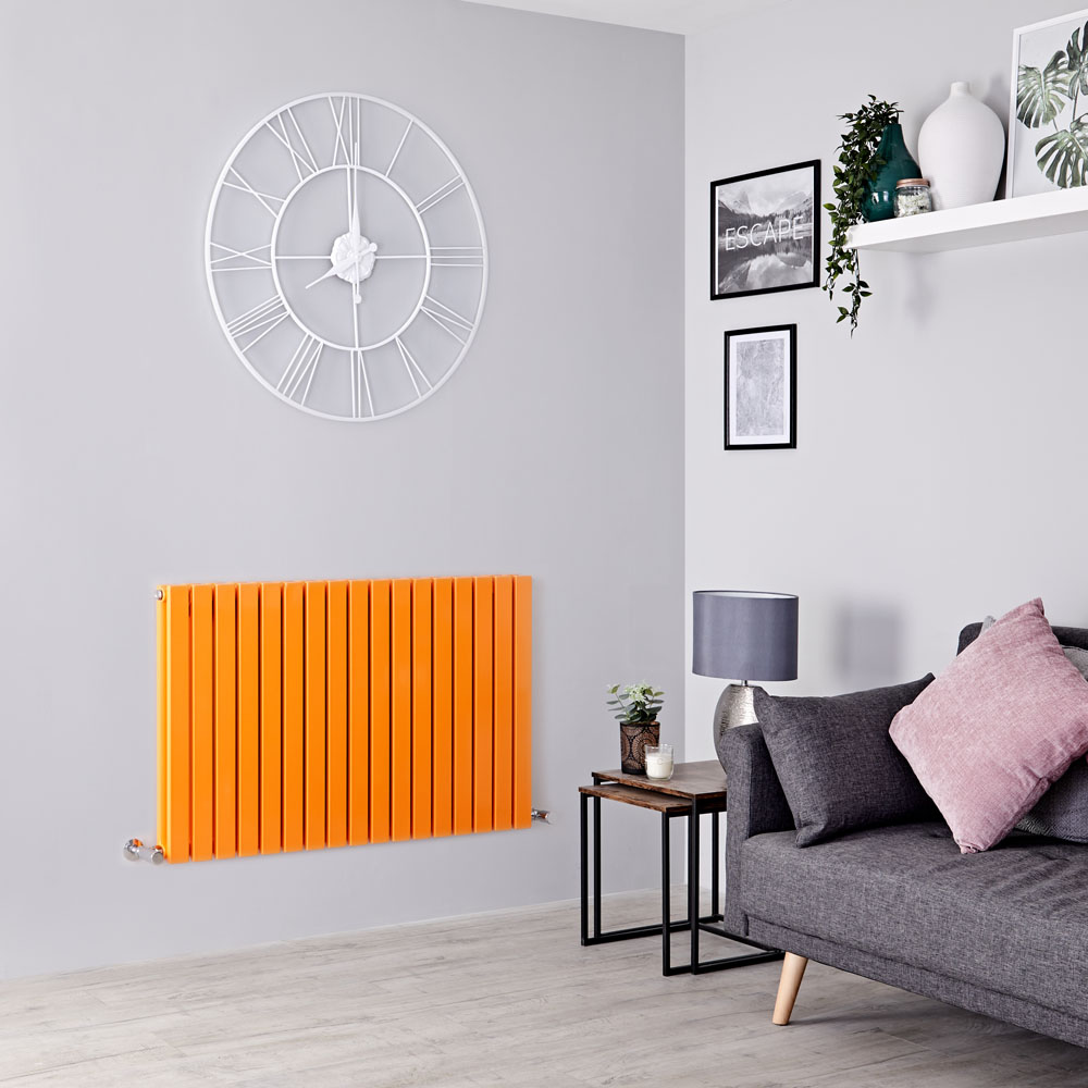 Milano Capri - Light Orange Flat Panel Horizontal Designer Radiator - 635mm x 1000mm (Double Panel)