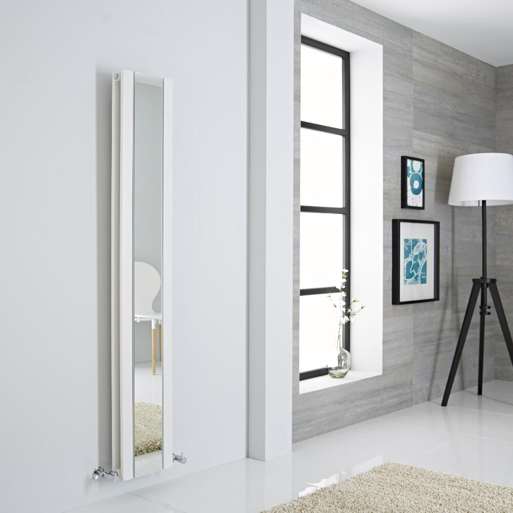 Milano Icon - White Vertical Mirrored Designer Radiator 1600mm x 265mm