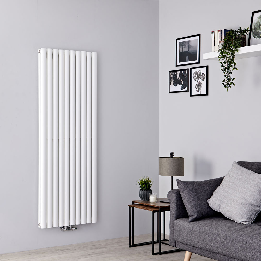Milano Aruba Flow - White Vertical Double Panel Middle Connection Designer Radiator 1600mm x 590mm