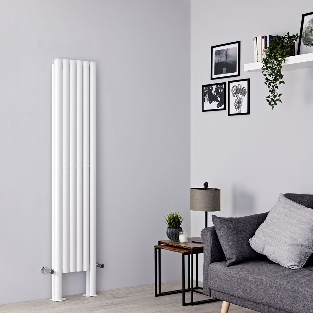 Milano Aruba Plus - White Vertical Designer Radiator with Feet 1800mm x 354mm (Double Panel)