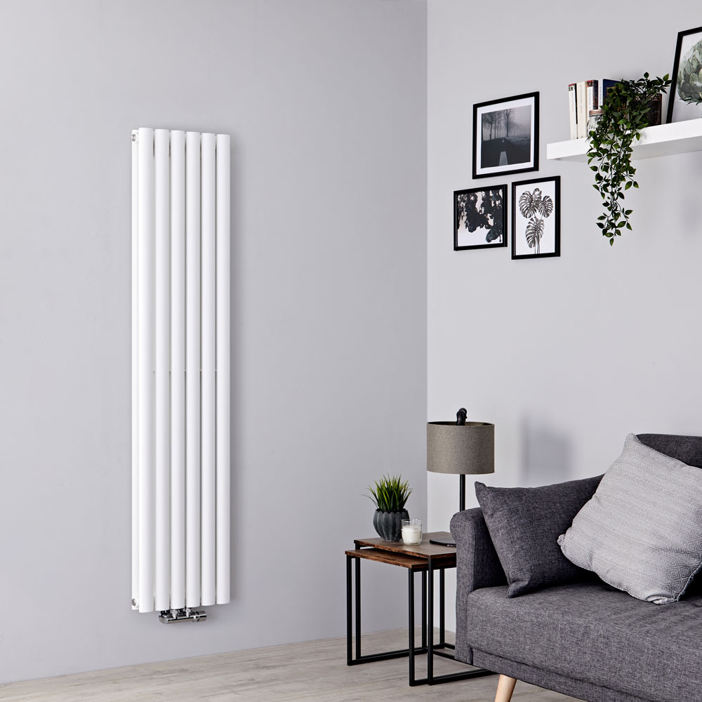 Milano Aruba Flow - White Vertical Double Panel Middle Connection Designer Radiator 1600mm x 354mm