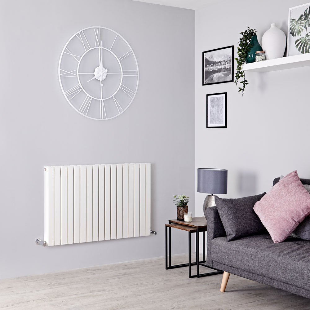 Milano Capri - White Horizontal Flat Panel Designer Radiator 635mm x 1000mm (Double Panel)