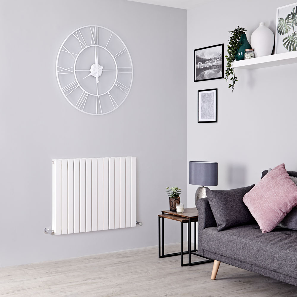 Milano Capri - White Horizontal Flat Panel Designer Radiator 635mm x 834mm (Double Panel)