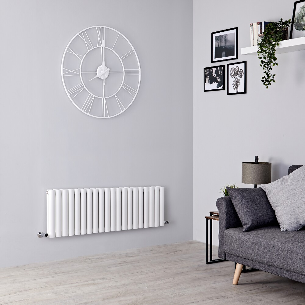 Milano Aruba - White Horizontal Designer Radiator 400mm x 1180mm (Double Panel)