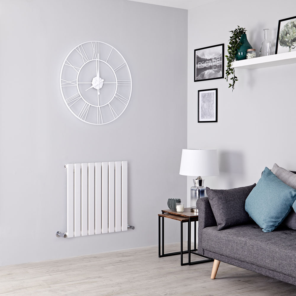 Milano Alpha - White Horizontal Single Slim Panel Designer Radiator 635mm x 630mm
