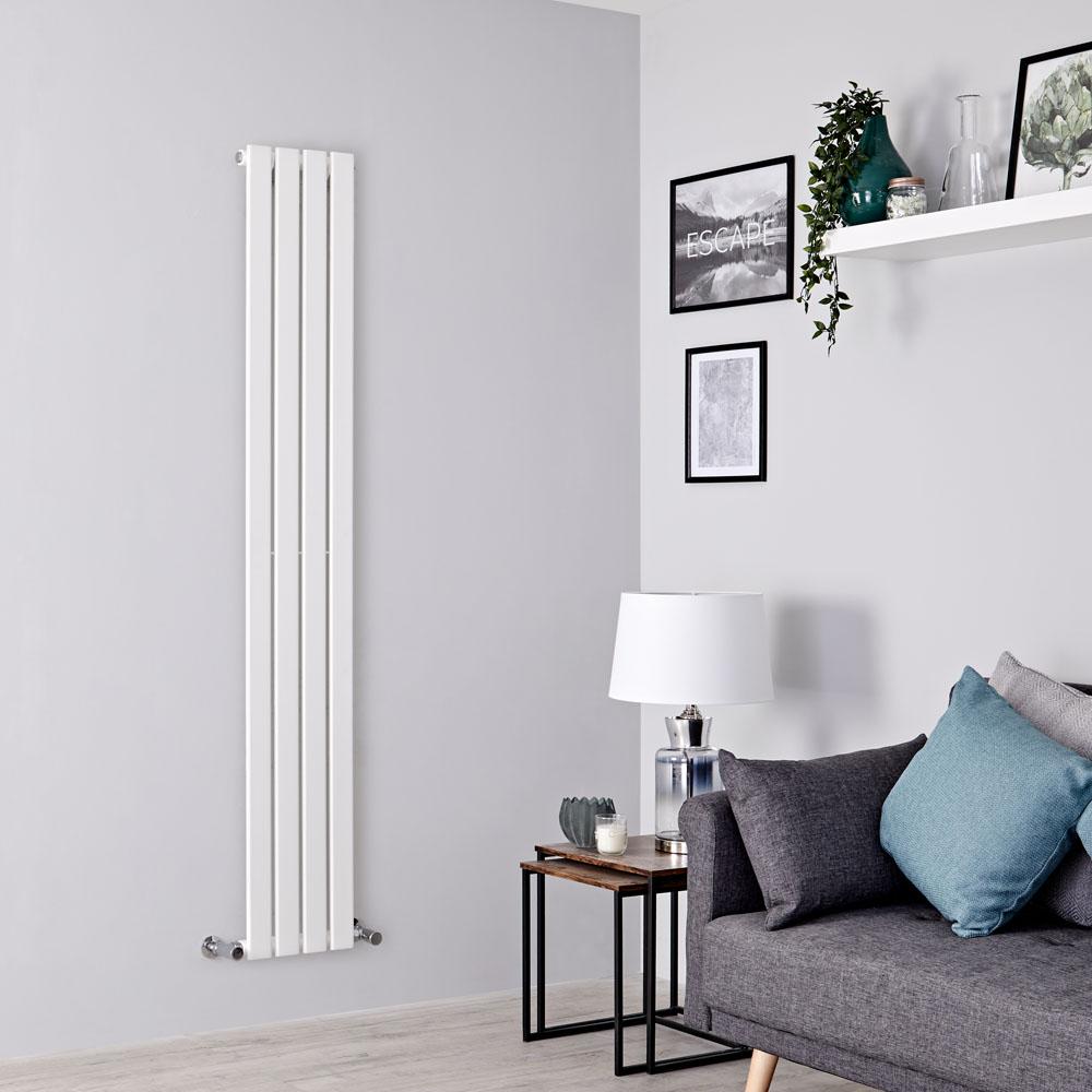 Milano Alpha - White Vertical Single Slim Panel Designer Radiator 1600mm x 280mm