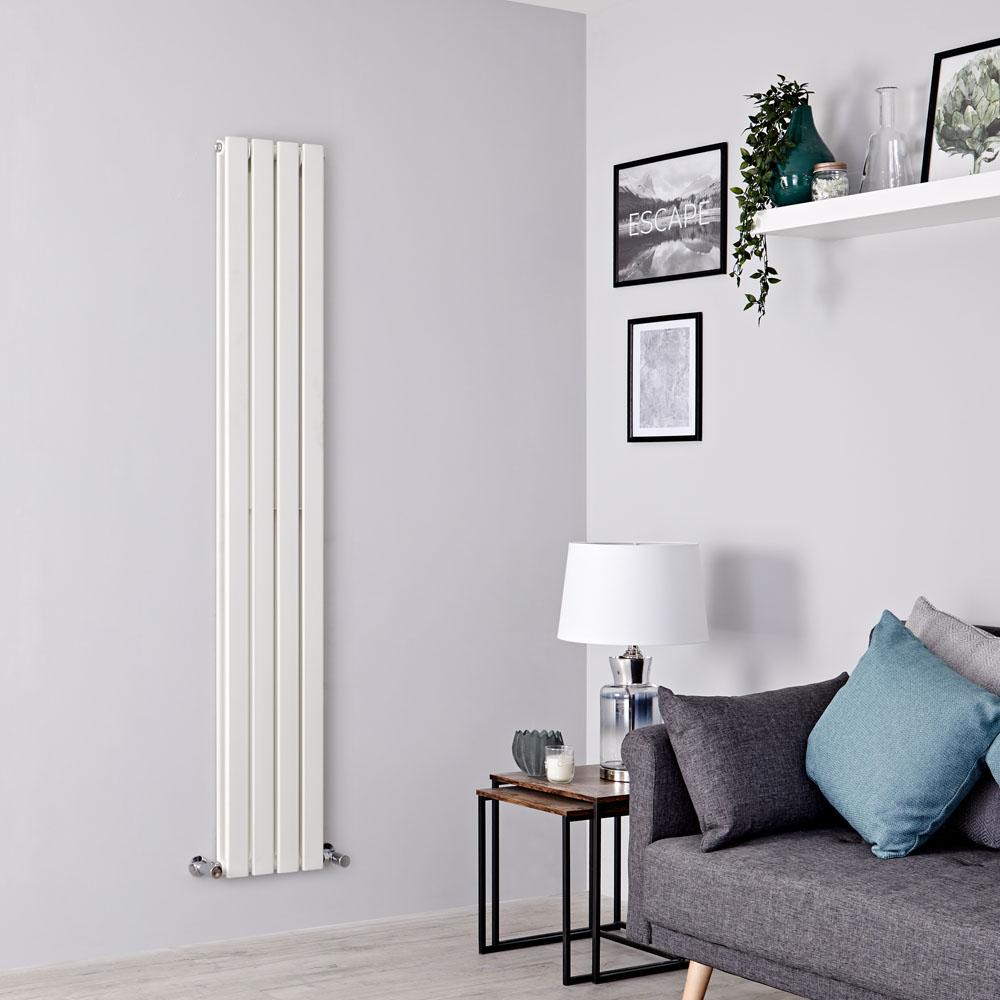 Milano Alpha - White Vertical Double Slim Panel Designer Radiator 1600mm x 280mm