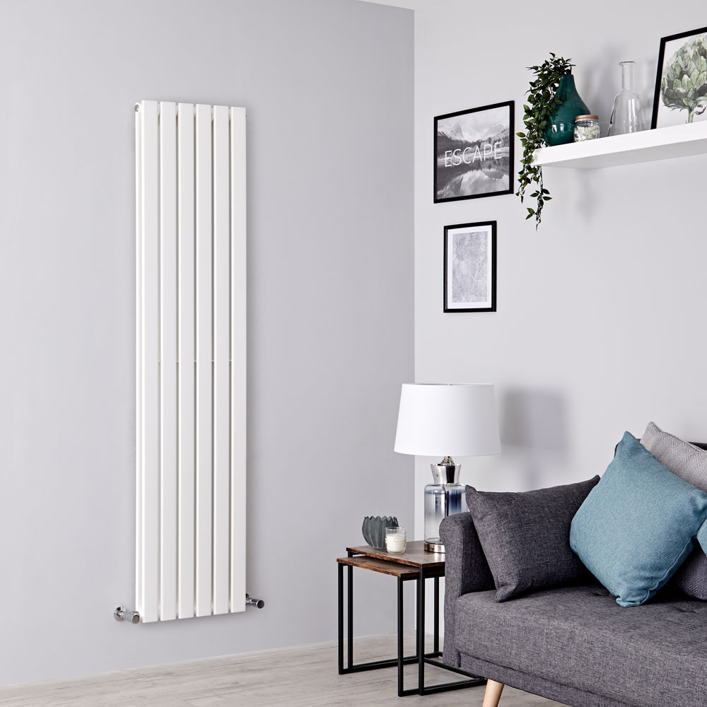 Milano Alpha - White Vertical Double Slim Panel Designer Radiator 1600mm x 420mm