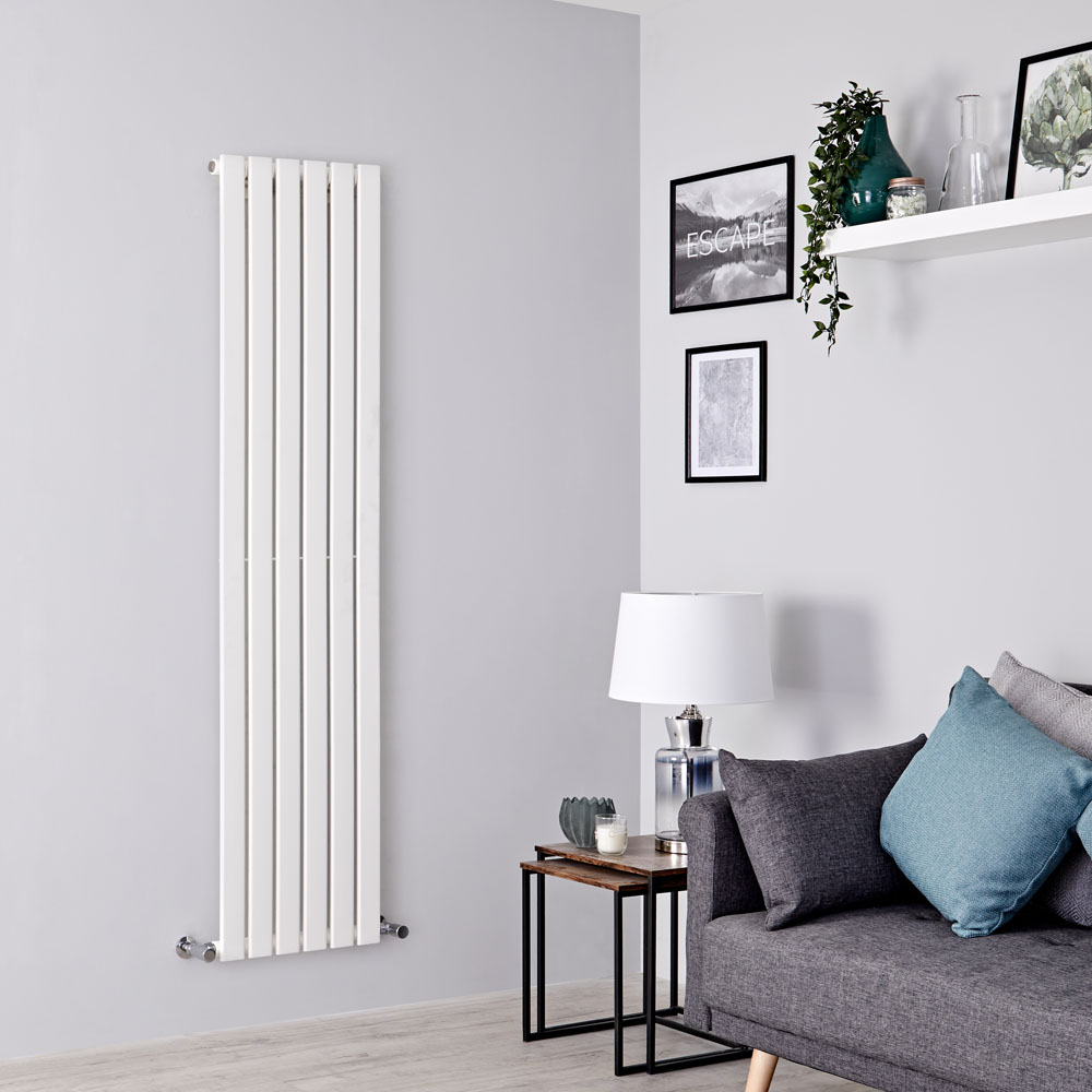 Milano Alpha - White Vertical Single Slim Panel Designer Radiator 1600mm x 420mm