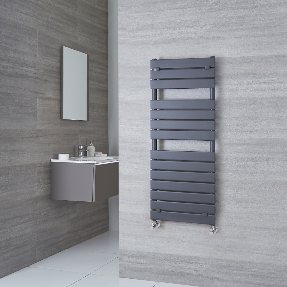 Milano Lustro - Designer Anthracite Flat Panel Heated Towel Rail 1213mm x 500mm