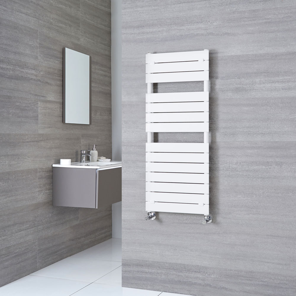 Milano Lustro - Designer White Flat Panel Heated Towel Rail 1213mm x 500mm