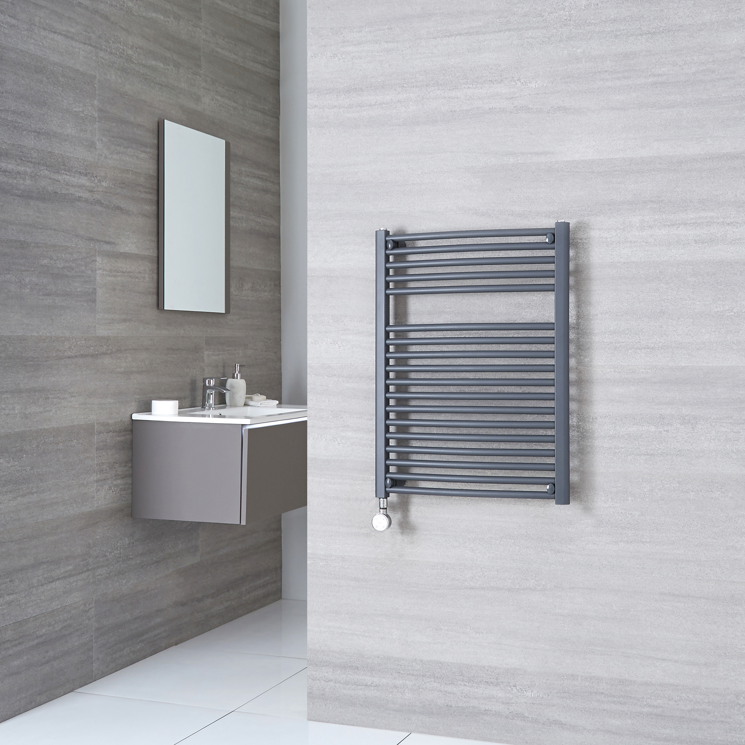Milano Brook Electric - Anthracite Curved Heated Towel Rail 800mm x 500mm