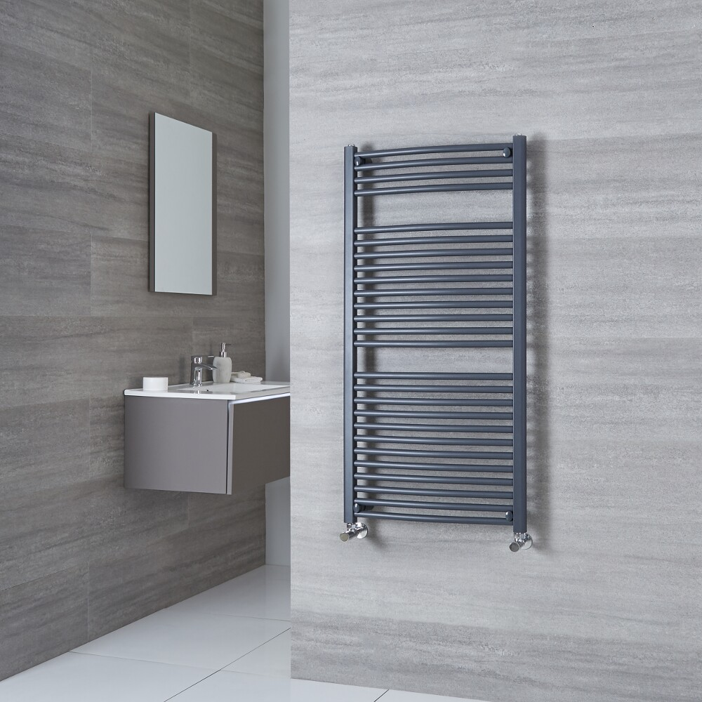 Milano Brook - Anthracite Curved Heated Towel Rail 1200mm x 500mm