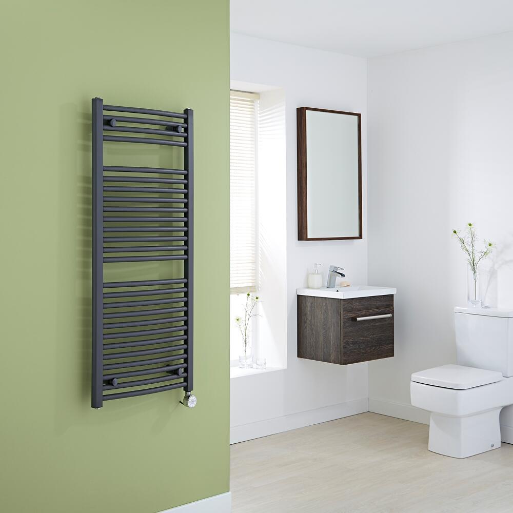 Milano Brook Electric - Anthracite Curved Heated Towel Rail 1200mm x 500mm