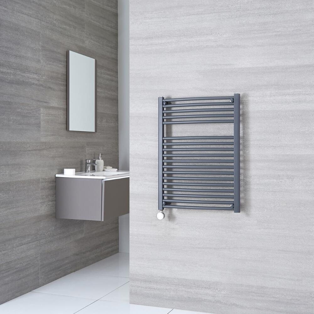 Milano Brook Electric - Anthracite Curved Heated Towel Rail 800mm x 600mm