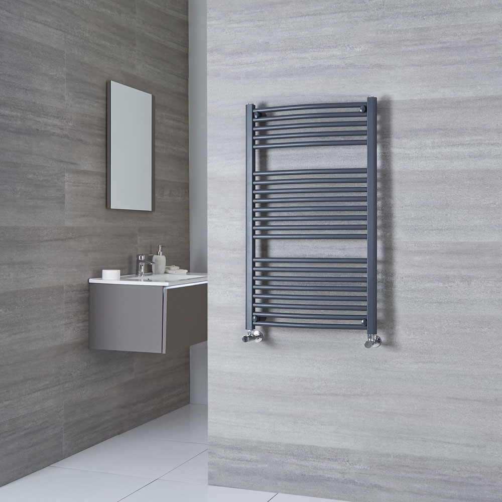 Milano Brook - Anthracite Curved Heated Towel Rail 1000mm x 600mm