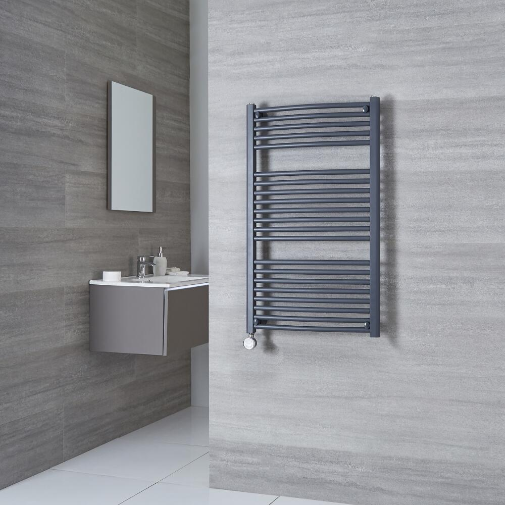 Milano Brook Electric - Anthracite Curved Heated Towel Rail 1000mm x 600mm