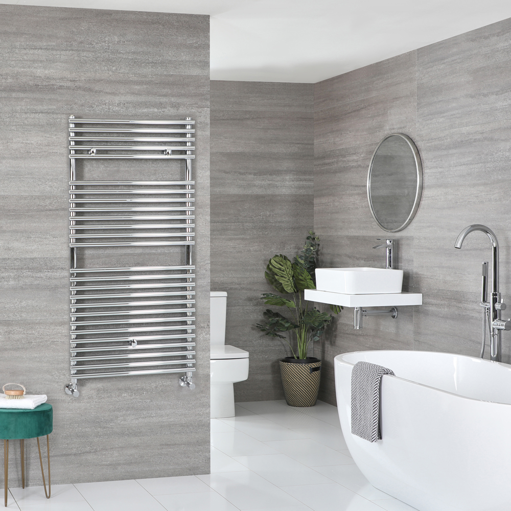 Milano Arno - Bar on Bar Chrome Heated Towel Rail 1190mm x 450mm