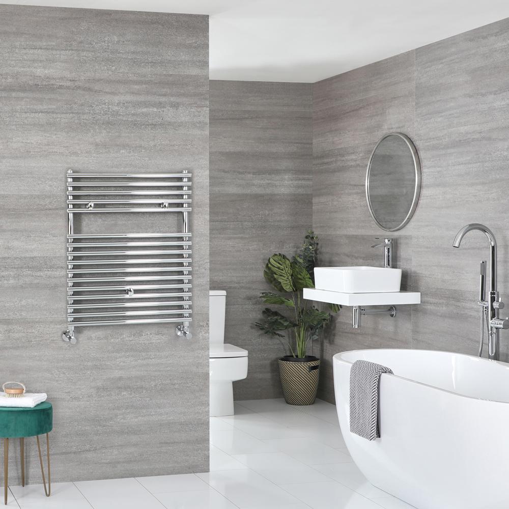 Milano Arno - Bar on Bar Chrome Heated Towel Rail 730mm x 600mm