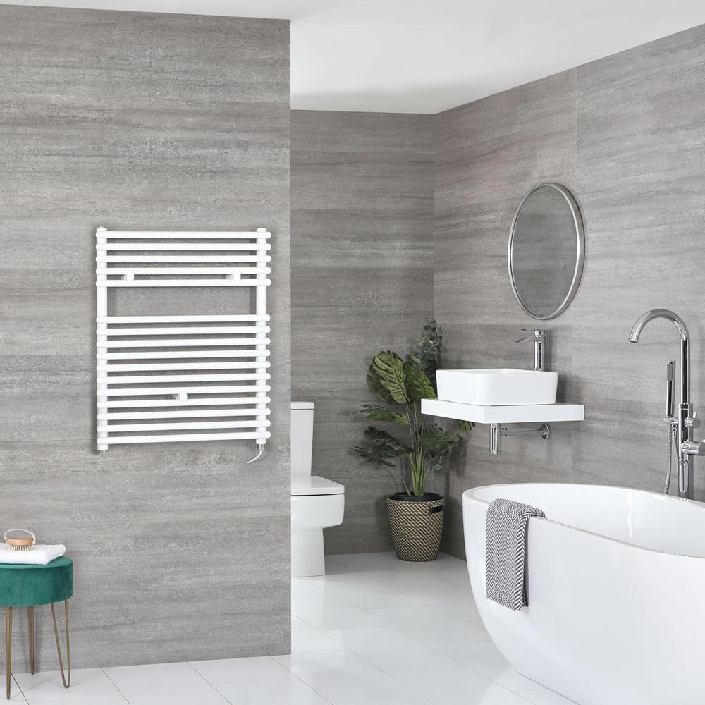 Milano Arno Electric - White Bar on Bar Heated Towel Rail 730mm x 600mm