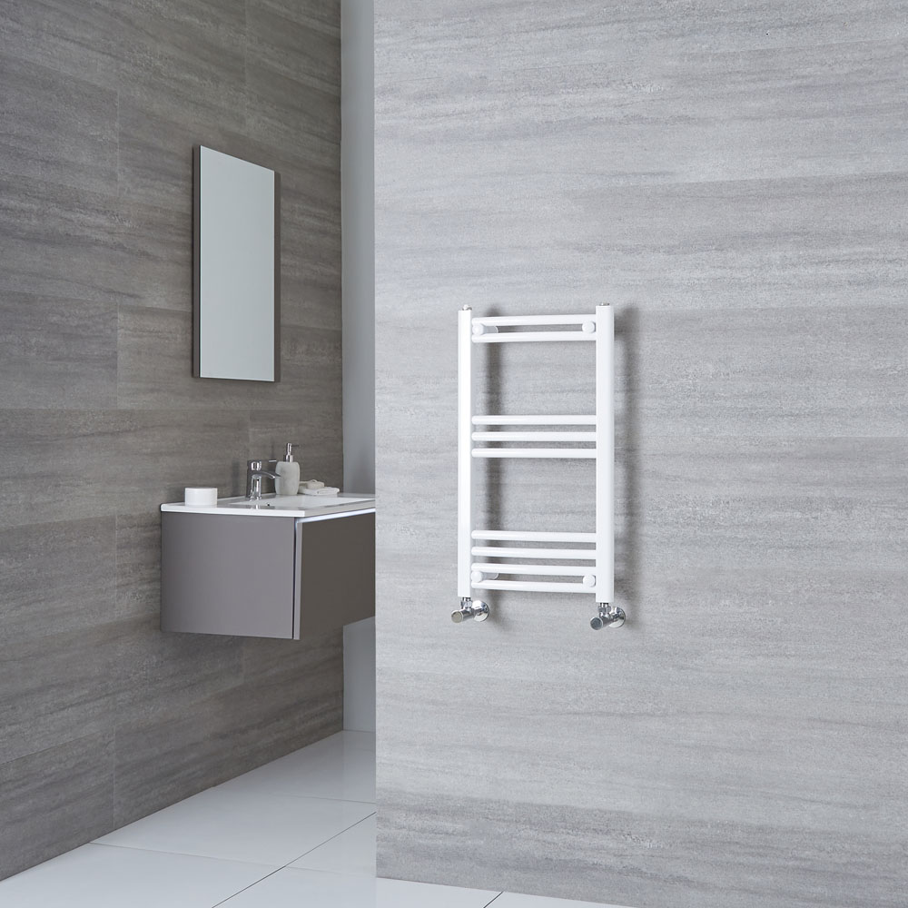 Milano Calder - Curved White Heated Towel Rail 700mm x 400mm