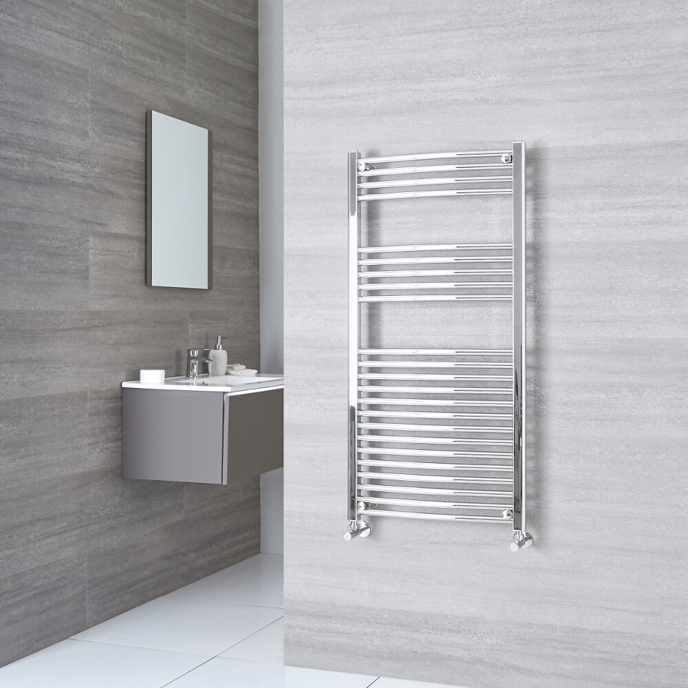 Milano Ribble - Curved Chrome Heated Towel Rail 1200mm x 500mm