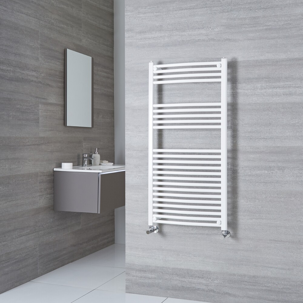 Milano Calder - Curved White Heated Towel Rail 1200mm x 500mm