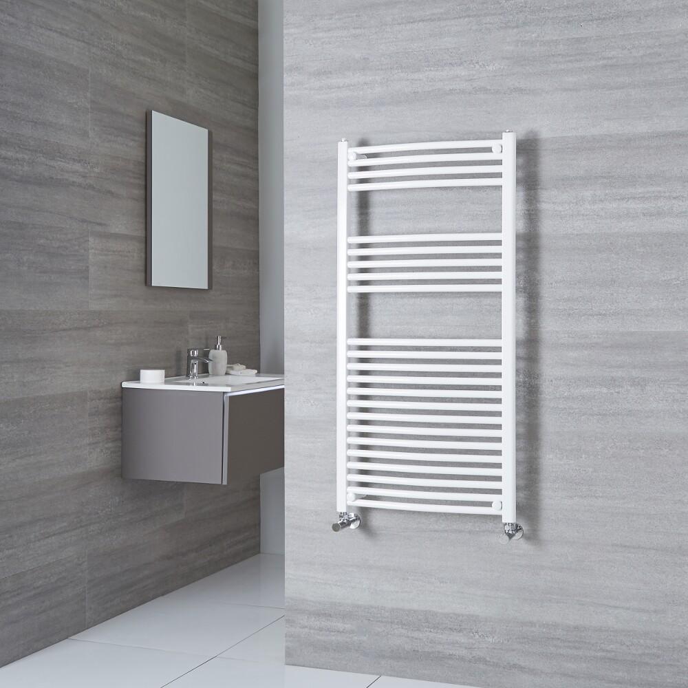 Milano Calder - Curved White Heated Towel Rail 1200mm x 500mm