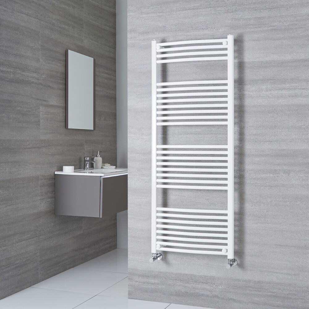 Milano Calder - Curved White Heated Towel Rail 1500mm x 500mm
