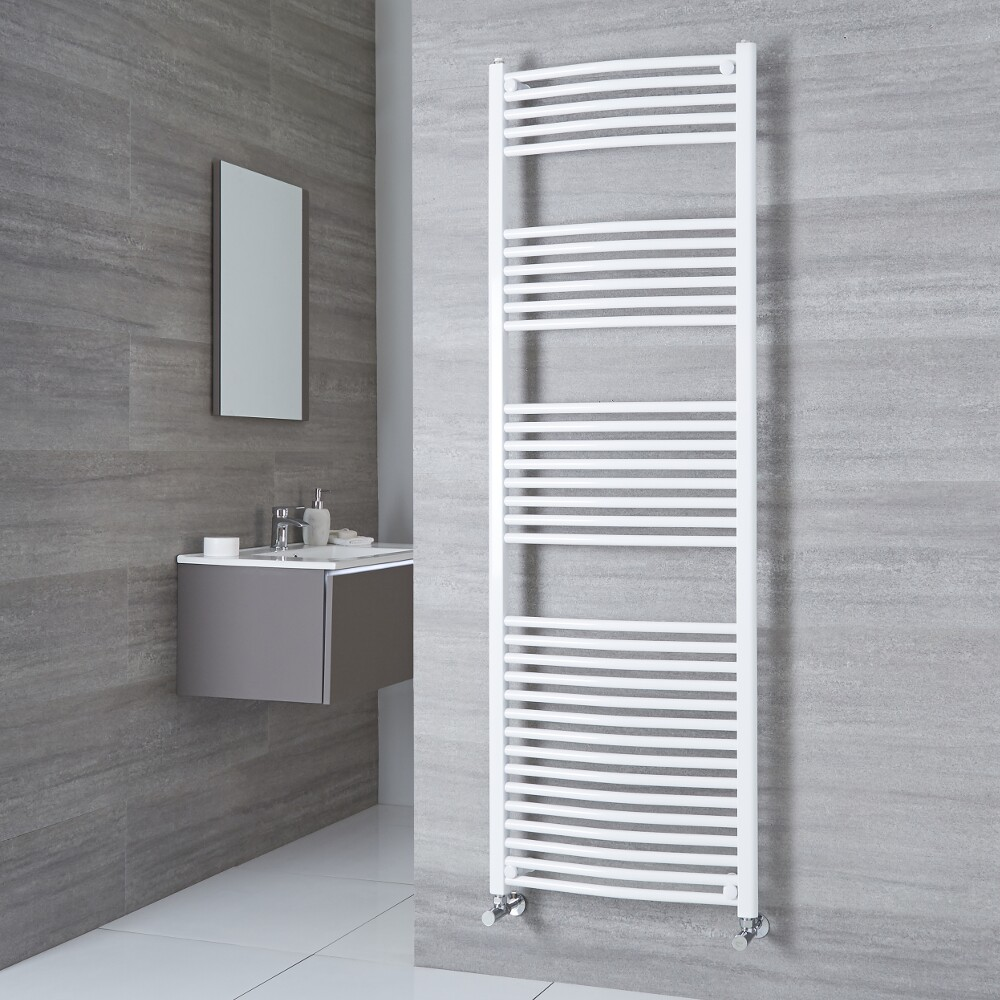 Milano Calder - Curved White Heated Towel Rail 1800mm x 500mm