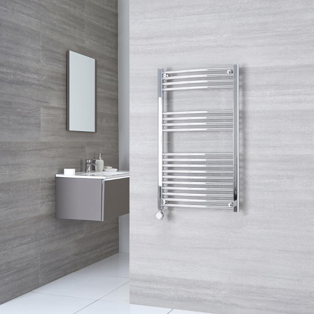 Milano Ribble Electric - Curved Chrome Heated Towel Rail 1000mm x 600mm