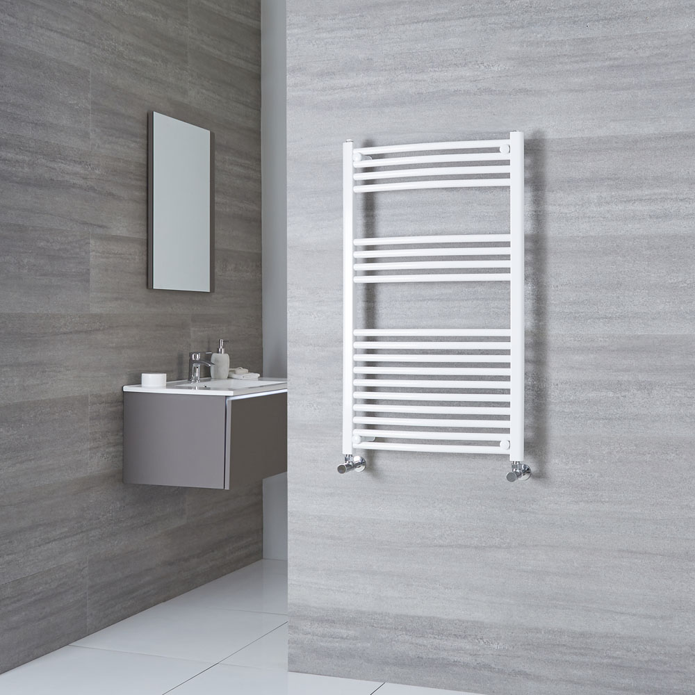 Milano Calder - Curved White Heated Towel Rail 1000mm x 600mm